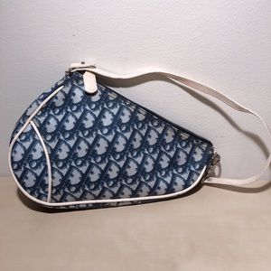 Dior Vintage Saddle Bag Blue/Cream